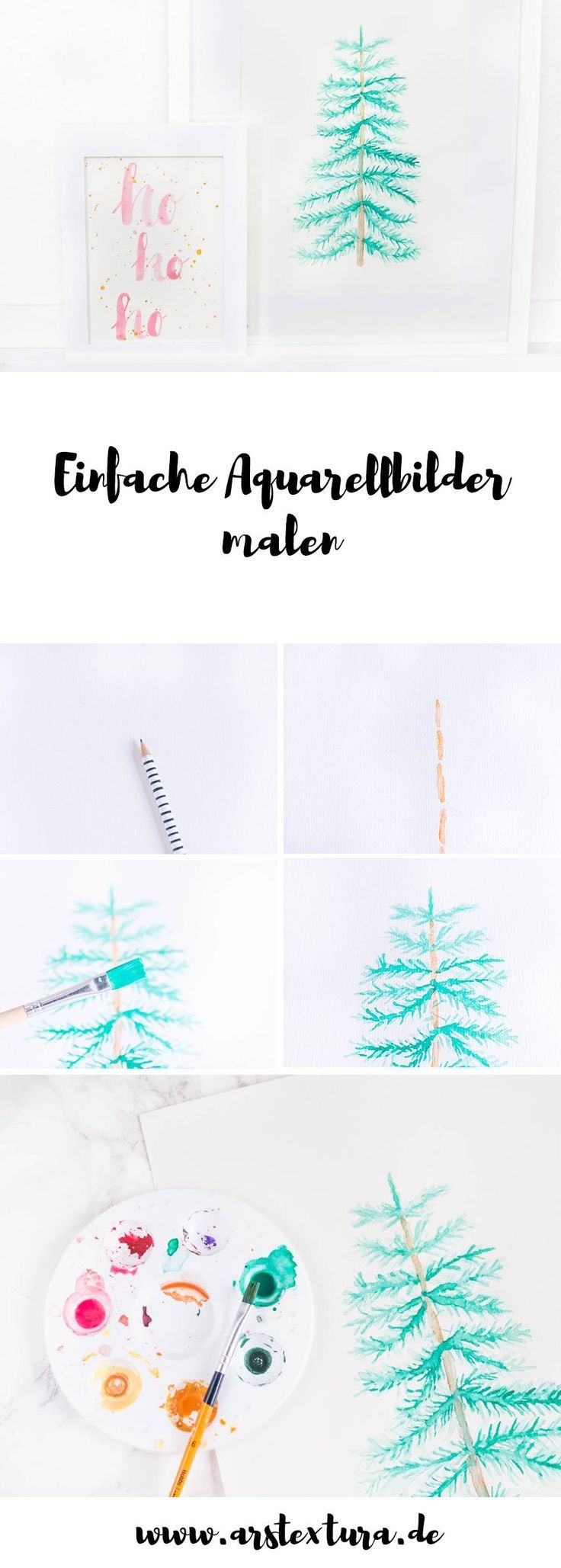 aquarellbilder malen mit anleitung  weihnachtliche