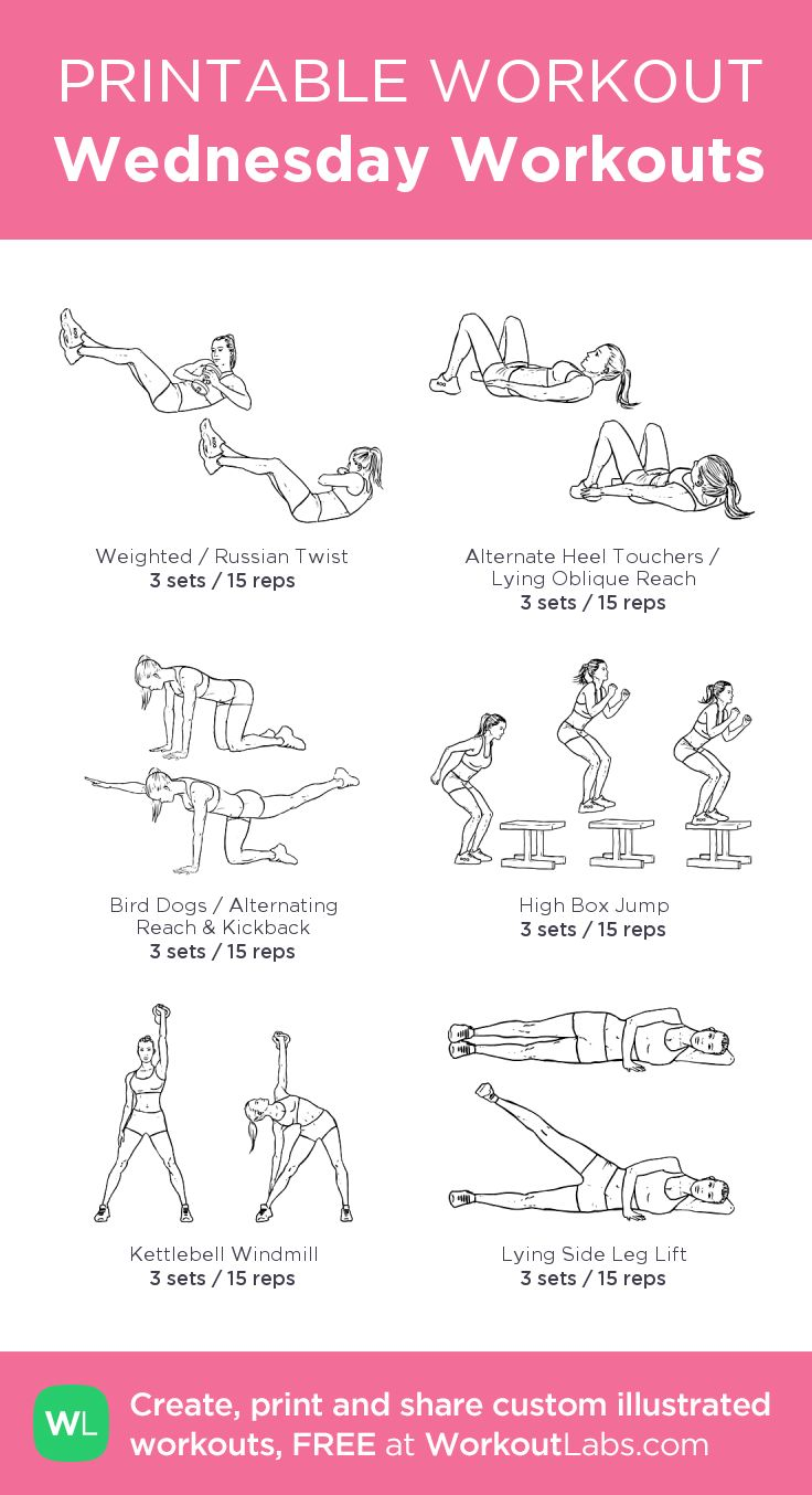 Wednesday Workouts:my visual workout created at WorkoutLabs.com • Click through to customize and download as a FREE PDF! #customworkout
