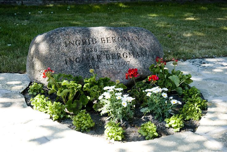 """Ingmar Bergman and Ingrid von Rosen/Bergman's final resting place on Fårö. Her four children requested to have her remains moved from the original site (Roslagsbro). The request was granted and the couple's graves were brought together. The top line of the tombstone inscription reads """"Ingrid Bergman"""", rather than """"Ingrid von Rosen Bergman"""". It was Ingmar Bergman's final wish to be buried next to the 'love of his life'."""