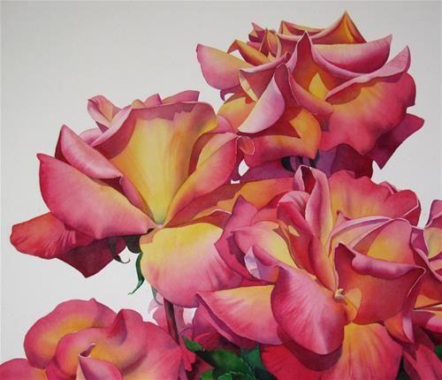 """INFINITE RICHES rose floral watercolor painting"" - Original Fine Art for Sale - © Barbara Fox"