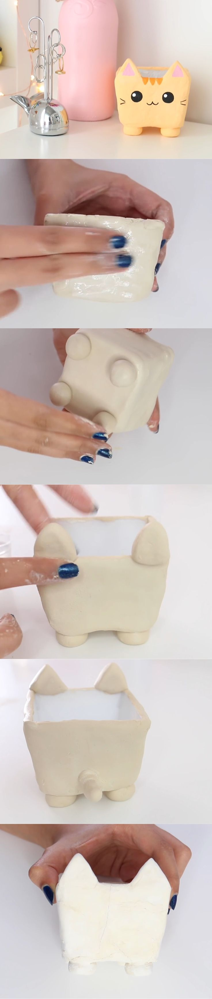 Nim C's clay cat container DIY tutorial part 2. So cute!!!!