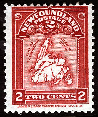 Newfoundland #86 Carmine Lake 2c 1908 VF Mint Lightly Hinged, well-centered within 4 ample to huge margins, clear all around, Full Gun, Gorgeous Rich Color item # 180738878395