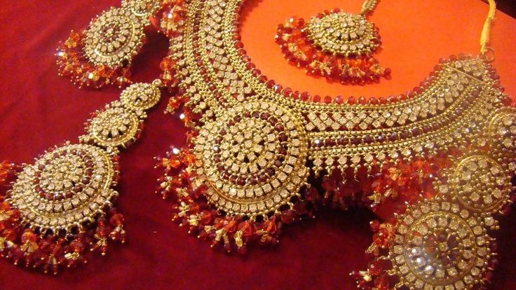 Indian Polki Gold CZ AD Red Maroon Statement Bridal Necklace Earrings Teeka Set