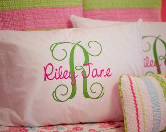 Monogram Pillowcase Girls Personalized by HeatherRogersDesigns