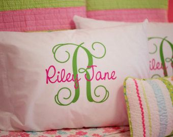 Monogram Pillowcase Girls Personalized by HeatherRogersDesigns