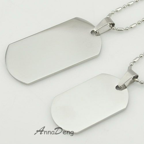 Dog Tag Silver 316L Stainless Steel Pendant Necklace Military Soldiers metal stamping blanks Tags wholesale KJP08