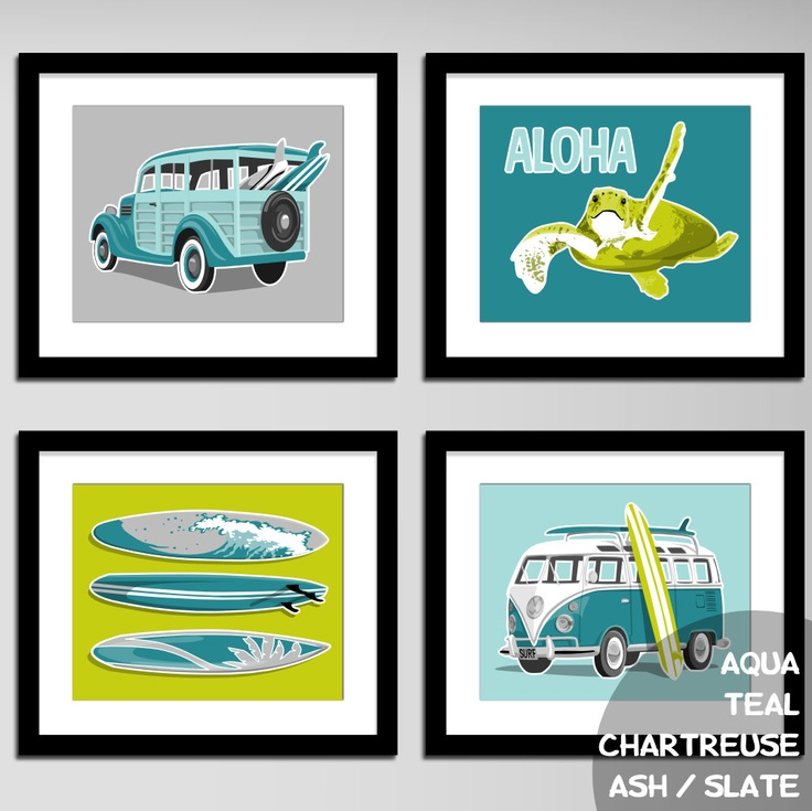 childrens wall art - surfer boy beach art prints surf art prints - custom colors-  surfing decor - kids art. $45.00, via Etsy.