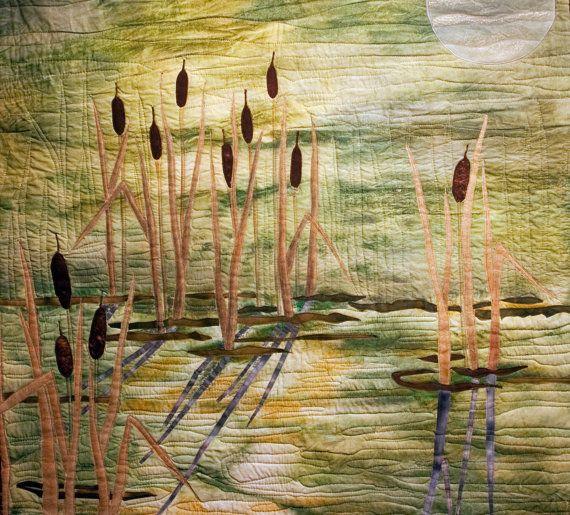 Hand painted fabric art quilt Sundown in by ArtQuiltsbyGretchen, $225.00