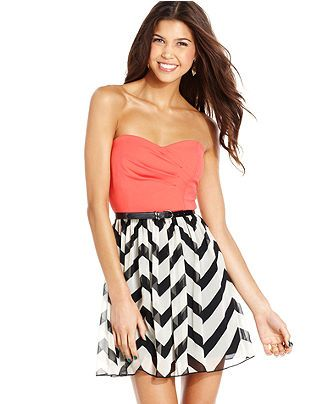 Trixxi Juniors Dress, Strapless Printed A-Line - Juniors Dresses - Macy's