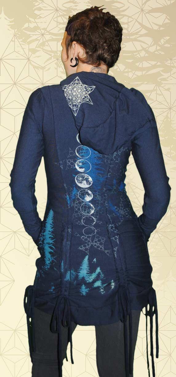 Avalon Bamboo Bustle Jacket, designs inspired by nature, moon phases, forest magic, sacred geometry, mists of avalon, moon medicine, sacred feminine