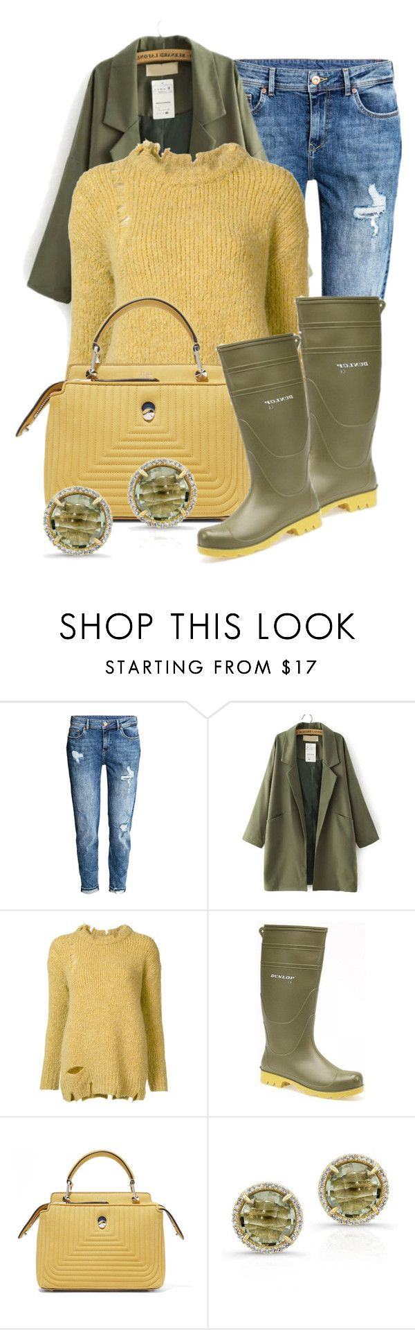 """""""Wellington Boots (1)"""" by queenrachietemplateaddict ❤ liked on Polyvore featuring H&M, Erika Cavallini Semi-Couture, Dunlop, Fendi and Anne Sisteron"""