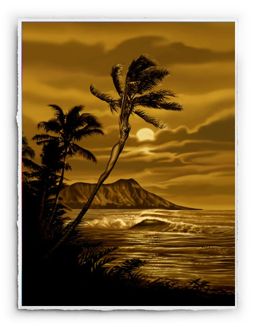 """Diamond Head"" #SurfArt by #RickRietveld. $125 unframed Signed Signature Print, or $295 with a black satin or bamboo frame with plexi glass."