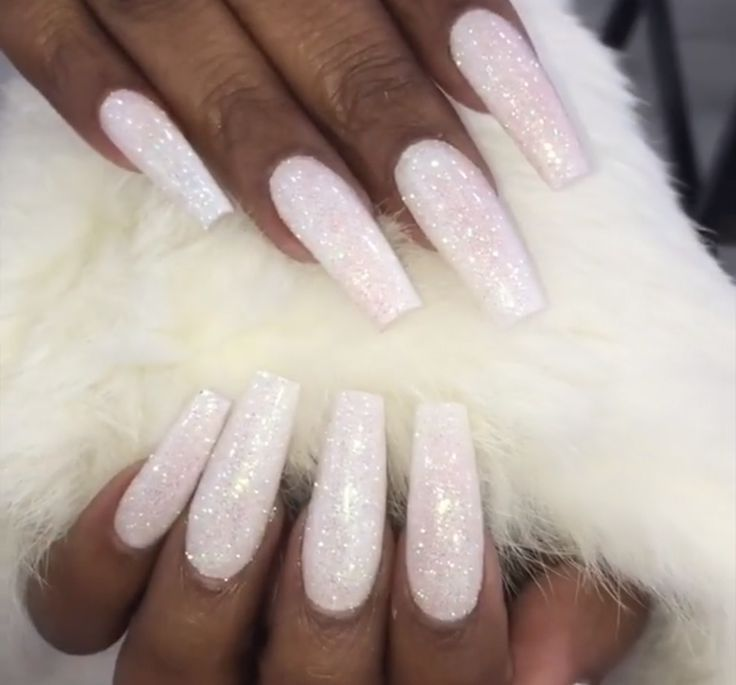 White Bling Nails Follow Hair Nails Style For More Acrylicnailssquare White Glitter Nails Nail Jewels Long Acrylic Nails
