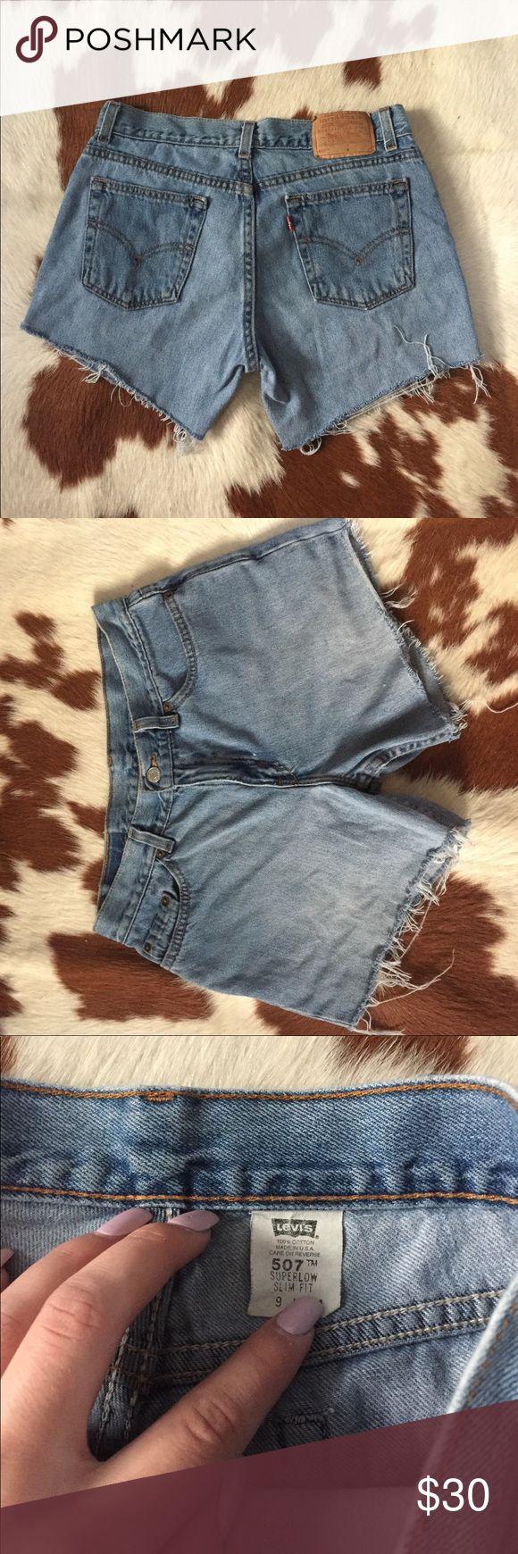 Levi's 507 Shorts 30 inch high waist. 9 inch rise. 4.5 inch inseam Levi's Shorts Jean Shorts
