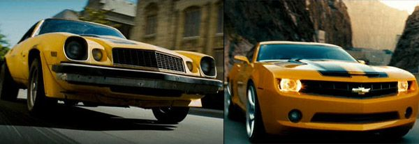 Transformers. Bumblebee 1977/2009 Chevrolet Camaro. Although previously seen as a Volkswaken Beetle, Bumblebee makes his film debut as a 1977 Camaro. But he's sensitive about how he looks, so he changes himself in to a 2009 Camaro. What else can he change into? A giant robot, natch!