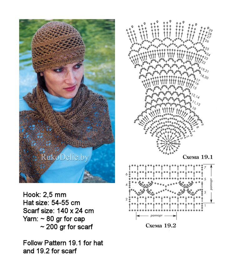 Crochet lacy hat and scarf