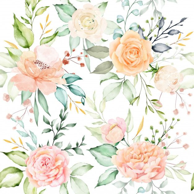 Watercolor Floral And Leaves Seamless Pattern In 2020