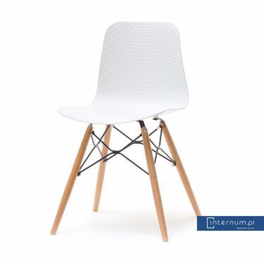 Eleganckie krzesło z tworzywa i drewna Caro białe - Krzesła nowoczesne