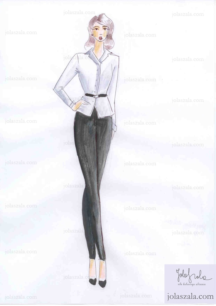 Biała koszula, czarne spodnie.        Miej w swojej garderobie spodnie i białą koszulę. To wspaniały klasyczny zestaw, który można dowolnie stylizować. Tutaj prosta wersja z lakierowanym wąskim paskiem z ciekawą klamrą i czarnymi zamszowymi szpilkami. on Jola Szala - Siła kobiecego ubrania  http://jolaszala.com/porady-joli/gdy-zakladasz-spodnie-zwroc-uwage-na/#sg3