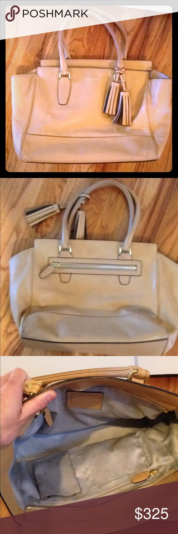 """Coach Legacy Leather Medium Candace Carryall Tan leather with gold plated zippers; inside zip, cell phone, and multifunction pockets; 13.25"""" L x 10.75"""" H x 5"""" W; zip-top closure, fabric lining, zip pocket on back, leather tassels and hangtag Coach Bags Totes"""