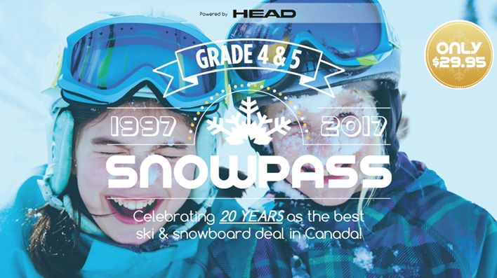 Wondering what to do with the kids this winter?  Come and celebrate 20 years as the best ski and snowboard deal in Canada, with the Grade 4 & 5 SnowPass  Ski areas across Canada are opening their hearts and hills to over 700,000 9 and 10-year-old children this winter, with an invitation to ski and snowboard 3 times