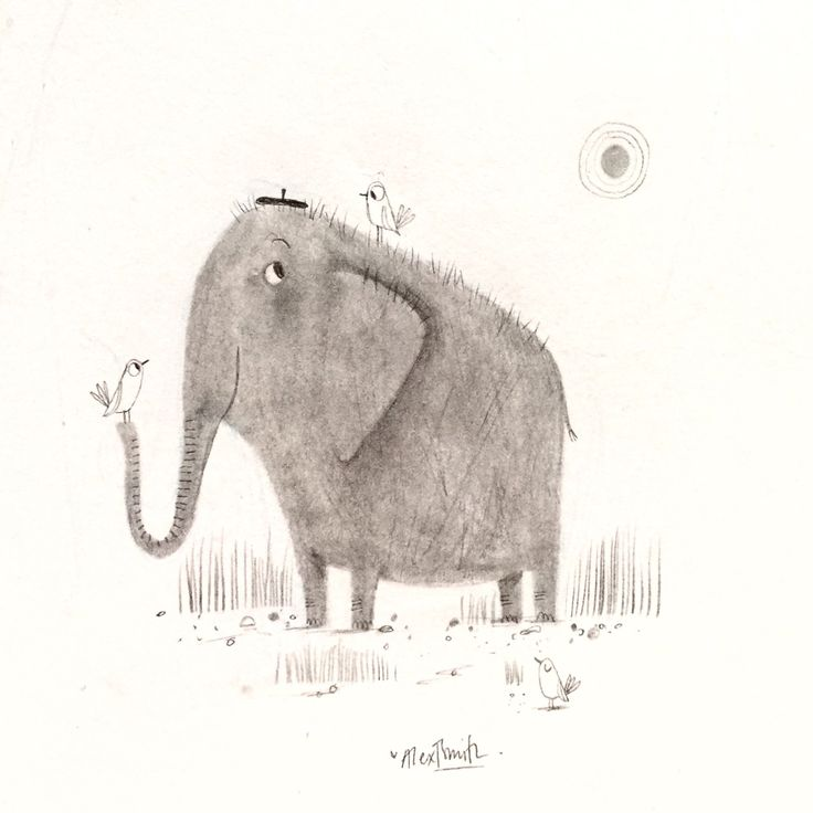 """alextsmith: """" SKETCHBOOK: Happy World Elephant Day One of my most favourite animals. ❤️ """""""