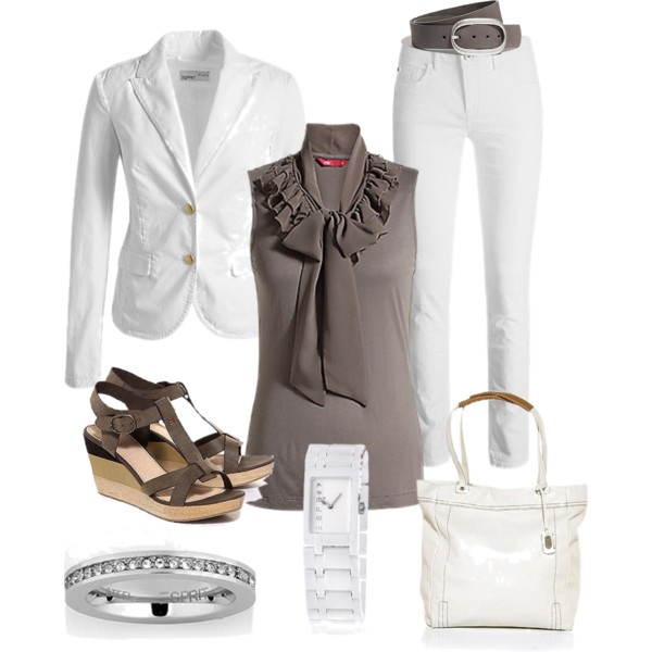 White casual set, created by jet1975 on Polyvore