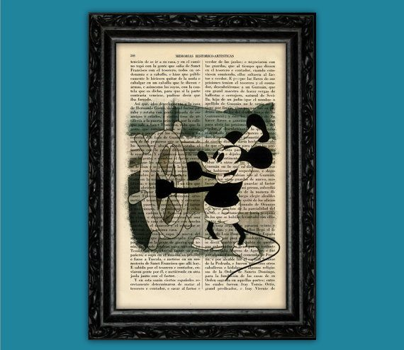 Original Mickey Mouse Art Print - Walt Disney Poster Vintage Mickey Poster Book Art Nursery Decor Frame Dorm Room Print Gift Dictionary