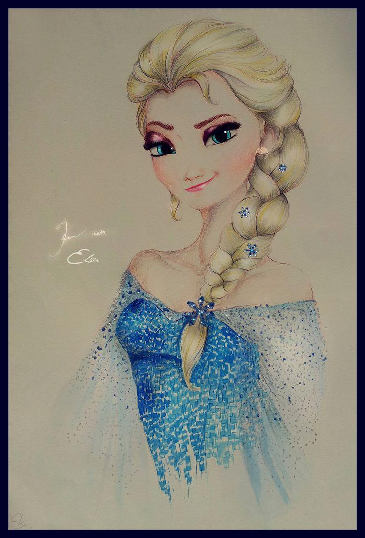 Elsa #Frozen #Disney #animation #queen #pencils& ink# FOR SALE
