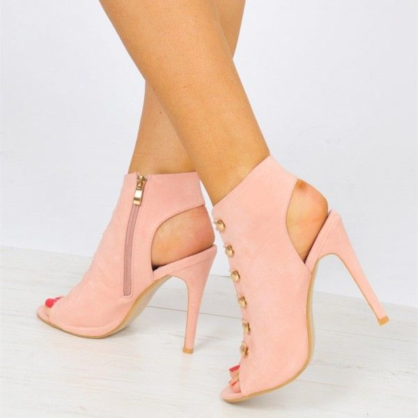 b73380039b8 Pink Suede Button Peep Toe Booties Stiletto Heel Slingback Ankle ...