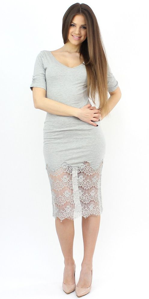 Casual Lace and Cotton #dress- http://famevogue.ro/produse_noi_94/rochie_gri_maneca_scurta_cu_dantela  #style #fashion #casual #famevogue #shopping