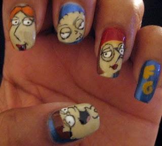 Family Guy cartoon nails Polish & acrylic paint nail art: Guys Nails, Nails Art, Families Guys, Nails Design, Acrylics Painting, Guys Cartoons, Nails Polish, Cartoons Nails, Painting Nails