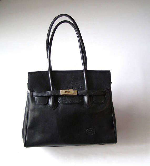 Sac à Main en cuir noir/sac cuir style Kelly/Sac à main