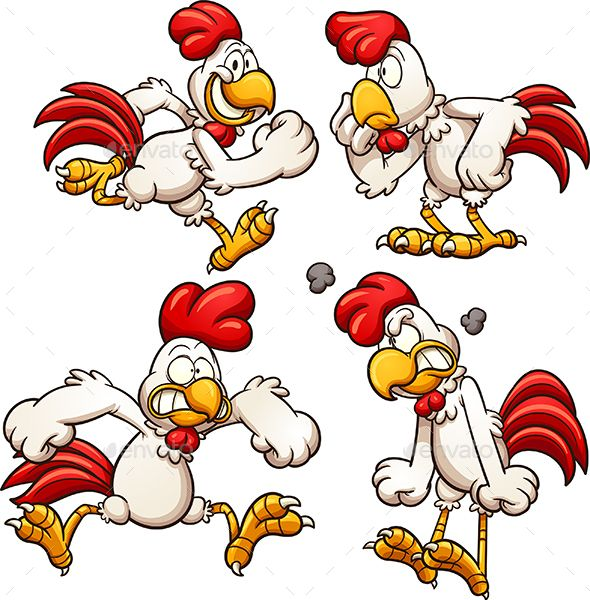 Cartoon chicken with different poses. Vector clip art illustration with simple gradients. Each on a separate layer. EPS10 file inc