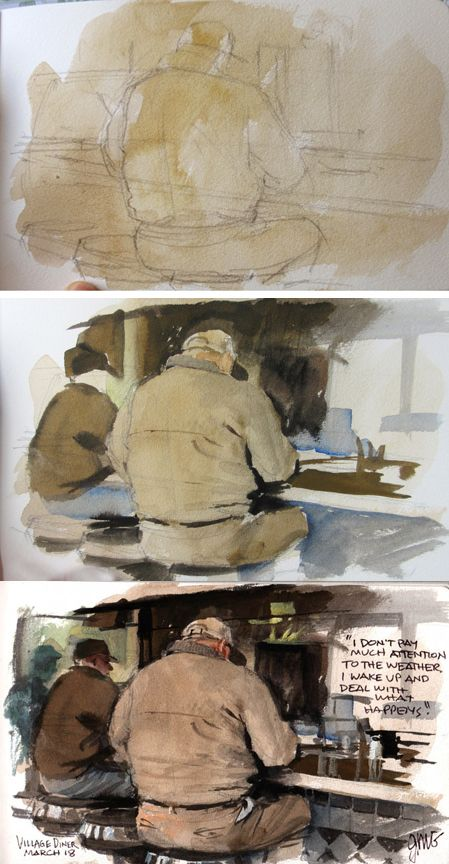 Gurney Journey: Watercolor Painting three step approach. Build a lesson around this..