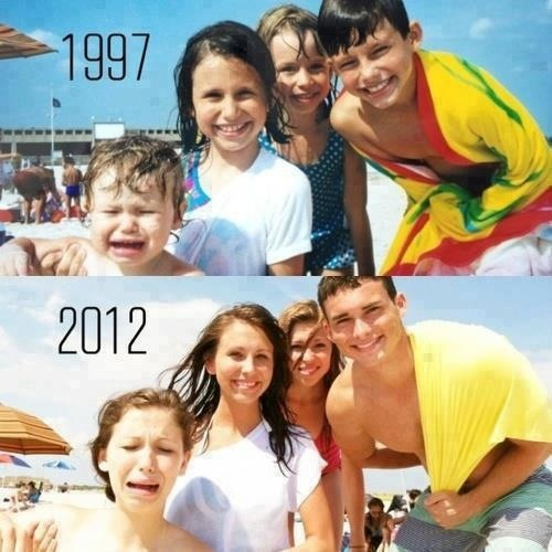 Family photo recreation, such a great idea!