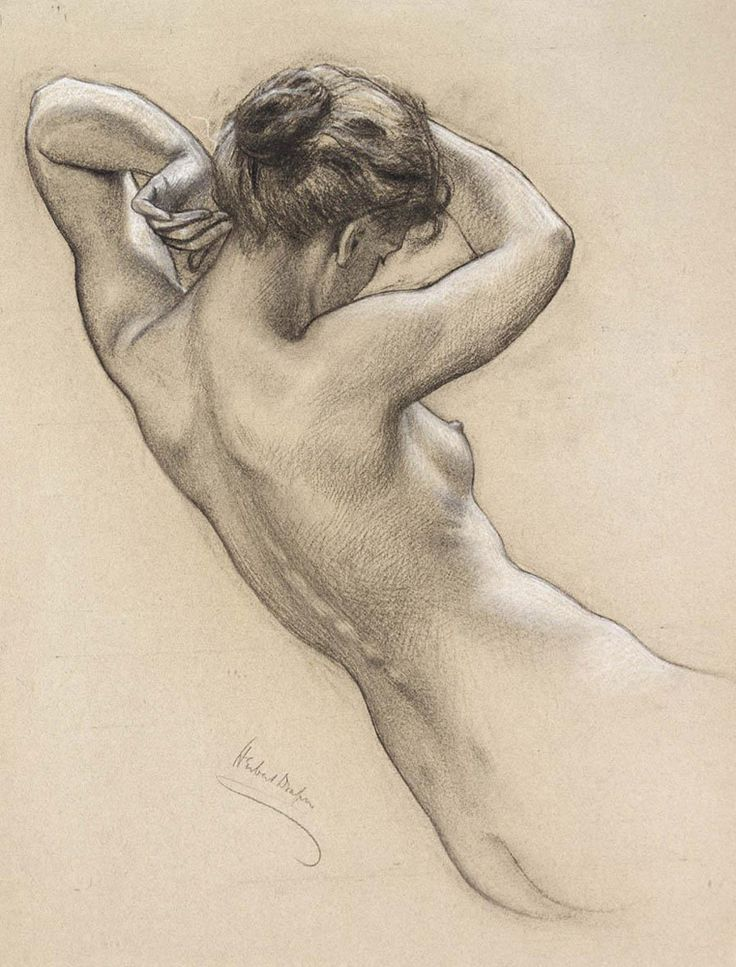 Herbert James Draper: Study of Florrie Bird for a water nymph in 'Prospero Summoning Nymphs and Deities'