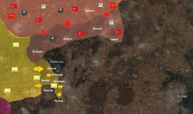 Map via @Syria_Rebel_Obs showing the changes in the frontlines in N #Aleppo #Syria - Both Turkish backed Rebels and SDF/YPG racing to Al-Bab