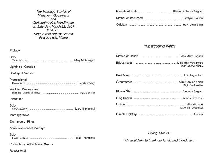 sample wedding ceremony Template   Wedding Program Sample Template - Download Now DOC