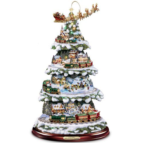 As Santa and his reindeer joyously fly into the Christmas night, the Wonderland Express slowly chugs its way round and round the peaceful little village nestled amongst snow-kissed evergreen boughs. Now, you can capture the joy of this wondrous night in your home with an exclusive Collectibles Market First Thomas Kinkade musical animated tabletop Christmas tree with moving trains. It showcases four levels of rotating movement - including Santa and his sleigh - you'll watch as the train…