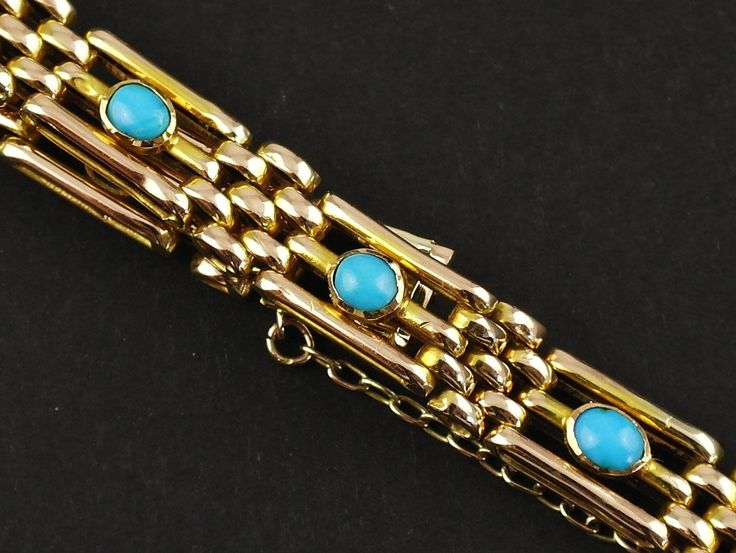 Antique Rose Gold & Turquoise Bracelet Edwardian Period Gold Gate Bracelet by fkantique on Etsy