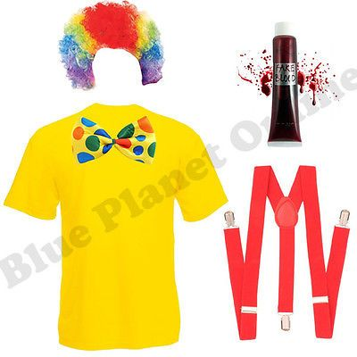 Mens #adults zombie #scary clown fancy #dress costume & wig outfit s-xl halloween,  View more on the LINK: http://www.zeppy.io/product/gb/2/131908992343/