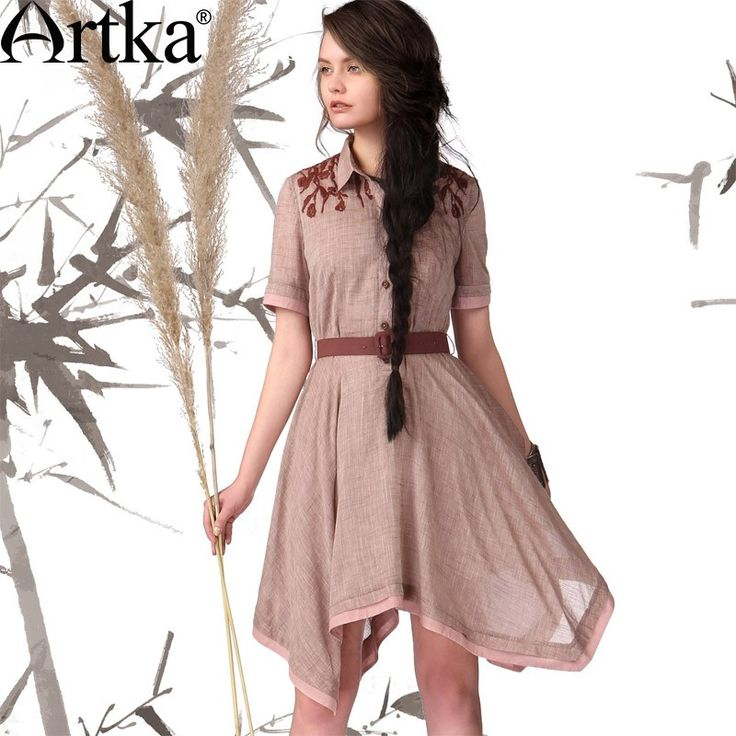 Artka Women'S Summer Casual Solid Polo Collar Short Sleeve Single Breasted Slim Waist Embroidery Bottom Expansion Cotton Dress LA12745X via Artka. Click on the image to see more!