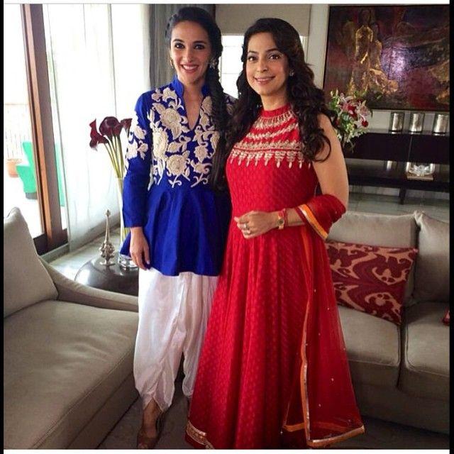Tara Sharma in a blue embroided peplum style kurta with dhoti pants by @sonaliguptadesign