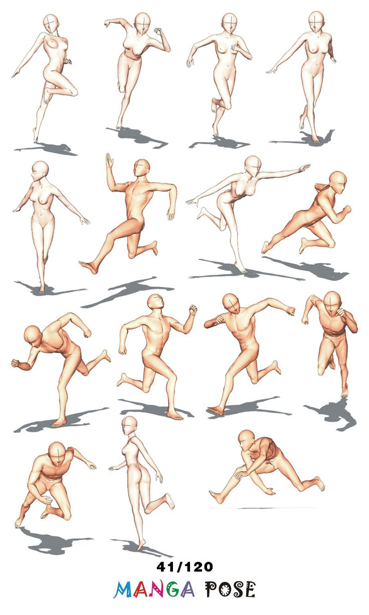 Tutorial Drawing Manga pose. Big posebook for manga anime character   : Running poses
