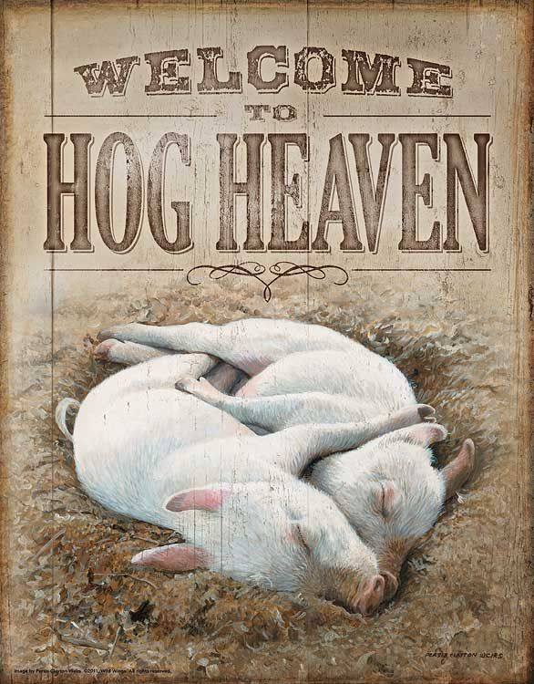 """This is a fantastic pig print by Persis Clayton Weirs. These awesome metal tin signs come with a great art reference as long as a catchy saying. Size 12.5""""x16"""""""