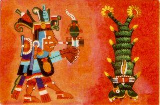 """CINTEOTL, SEÑOR DEL MAIZ """"Cintéotl era venerado por los aztecas como dios del maíz, al que se le atribuía un origen divino.  Cintéotl, como otros dioses Aztecas, era hombre y mujer. En su personalidad masculina era marido de Xochiquetzal, diosa del amor y la belleza. Torquemada opinaba que era una diosa de fertilidad y compañera del sol.  Su madre fue Tlazoltéotl, diosa de la fecundidad. Al sacerdote dedicado al culto de Cintéotl."""""""