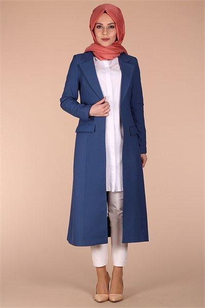 Cepli Uzun Ceket 2126 - Gece Mavi Ceket Modelleri - Kirazgiyim