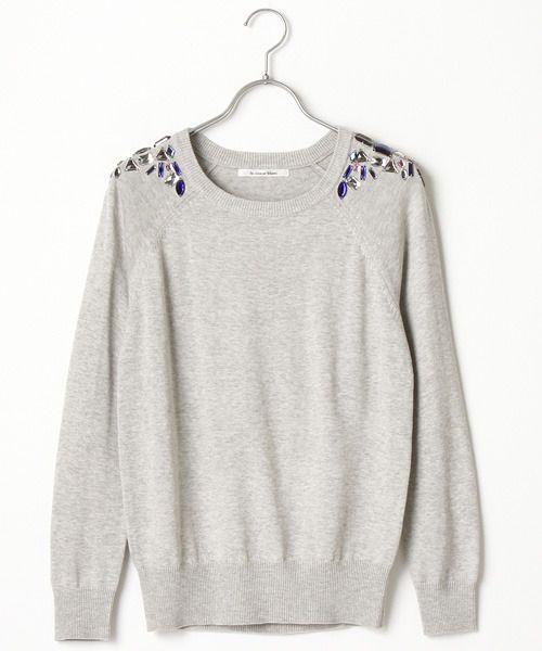 ShopStyle(ショップスタイル): Le.coeur Blanc ル クールブラン 肩ビジューニットPO