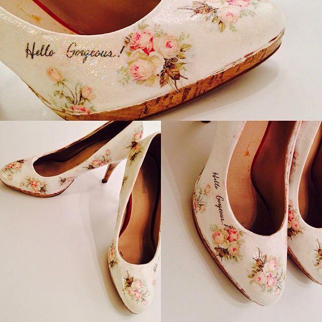 #decoupage#shoes#heels#rose#gorgeus #foryou#instaart#instaphoto #rekodzielo#pasja#handmade##buty#szpilki#trendy#photoftheday#whiteheels#highheels#woman#warsawart#polishart